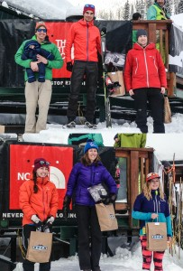 Men and Women's podium at ROAM Randonne Rally in Nelson, BC.