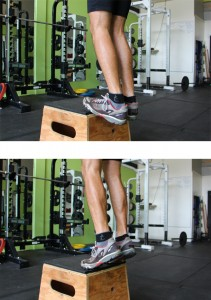 Eric demonstrating calf raises. Image is from our Manual for Ski Mountaineering Racing Training e-book.
