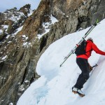 Approaching the 'shrund on the Aiguille du Argentiere with skis secured on the Raven. (Nick Elson Photo)