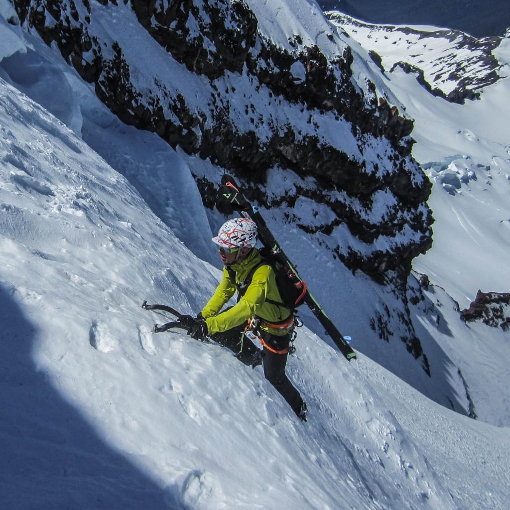 Climbing steep neve on the Coleman Headwall. (Nick Elson Photo)