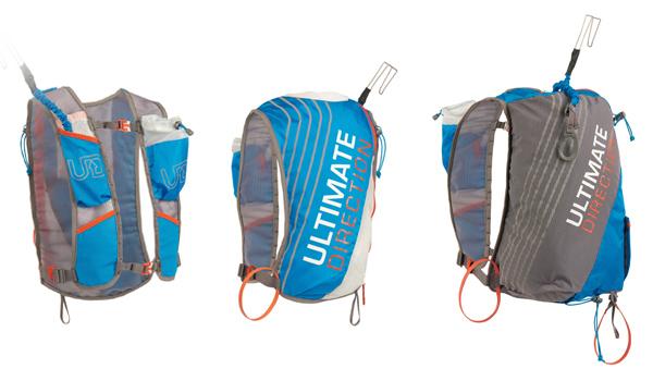 Ultimate Direction vests: Skimo 8 front, Skimo 8 back, Skimo 18 back