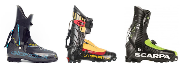 Pierre Gignoux Race 400 (virtually the same as Dynafit DNA), La Sportiva Stratos Hi-Cube, Scarpa Alien 3.0