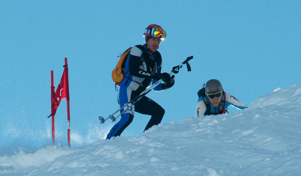 Ben dropping into a descent at 2015 Canadian  Skimo Champs in Golden, BC.