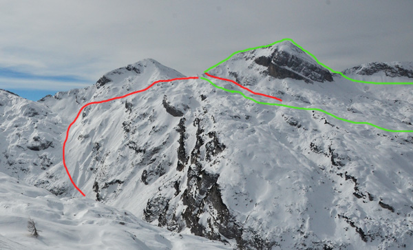 Showing parts of the course. Green is skinning or on foot, red are descents. ISMF photo.