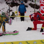 Emelie Forsberg and Claudia Galicia in the bottom boot-pack transition during women's final. Photo Matt Reid.
