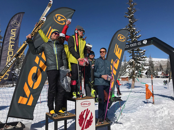 Men's teams race podium at Wasatch Powderkeg. Photo by the race organizers.