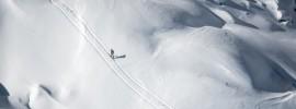 Beautiful winter landscape at Transcavallo race at Alpago, Italy.
