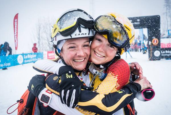 Katia Tomatis and Axelle Mollaret full of joy. (Pierra Menta photo)