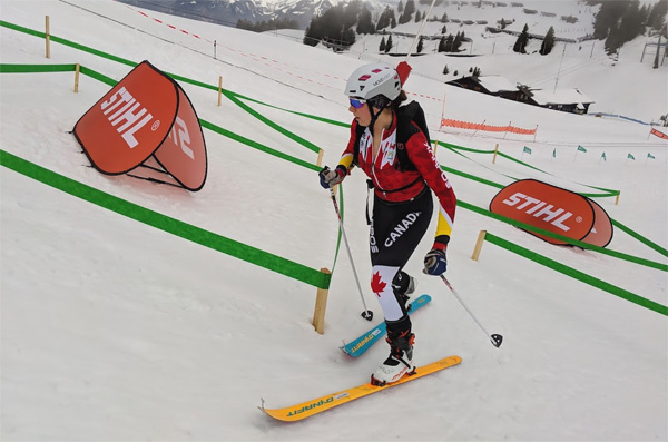 Ema Chlepkova (CAN) in her first ever Skimo Worlds race. She is one of the top junior biathletes in Canada.